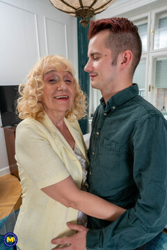 Granny landlord fucks and sucks her young tenant