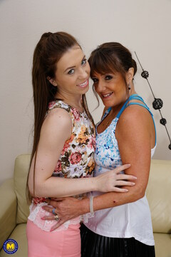 Horny old and young lesbians fool around with a strapon