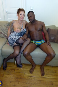 Naughty French cougar getting a big black cock up her ass