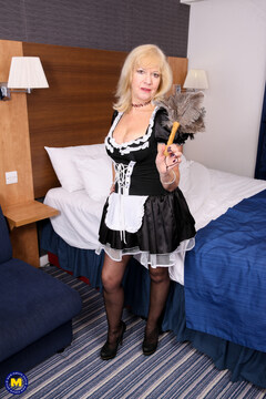 Big breasted mature housemaid finding some toys to play with