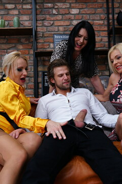 Four mature ladies share one hard toyboys cock