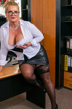 Big breasted secretary getting fucked by a way younger guy at the office